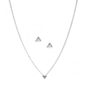 Tri Me Necklace & Earring Set (Silver)