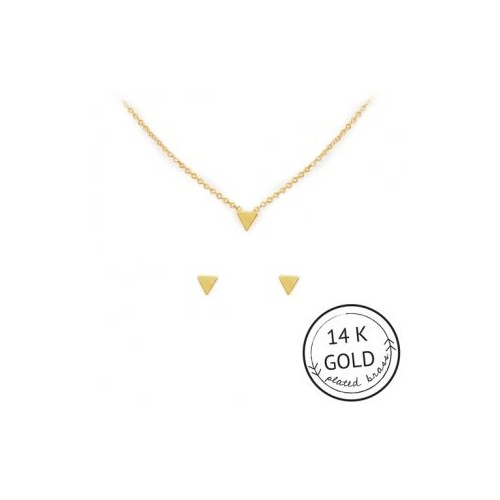 Tri Me Necklace & Earring Set (Gold)