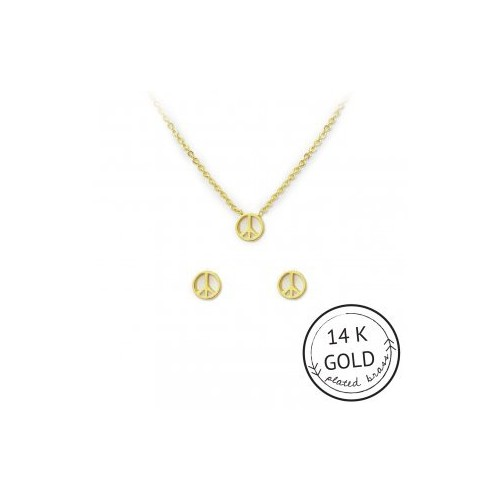 For Peace Sake Necklace & Earring Set (GOLD)