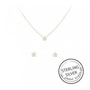 Starry Eyed Necklace & Earring Set (SILVER)